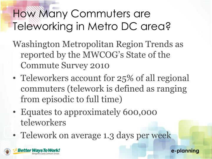 How Many Commuters are Teleworking in Metro DC area?
