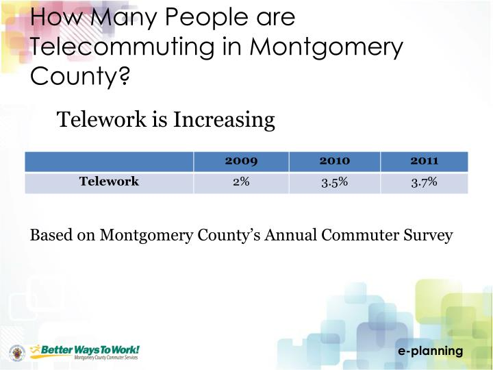 How Many People are Telecommuting in Montgomery County?