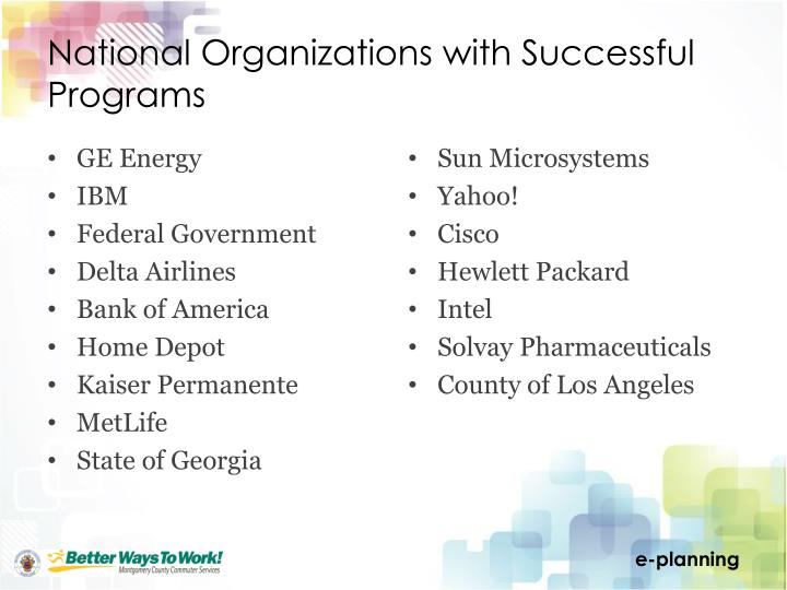 National Organizations with Successful Programs