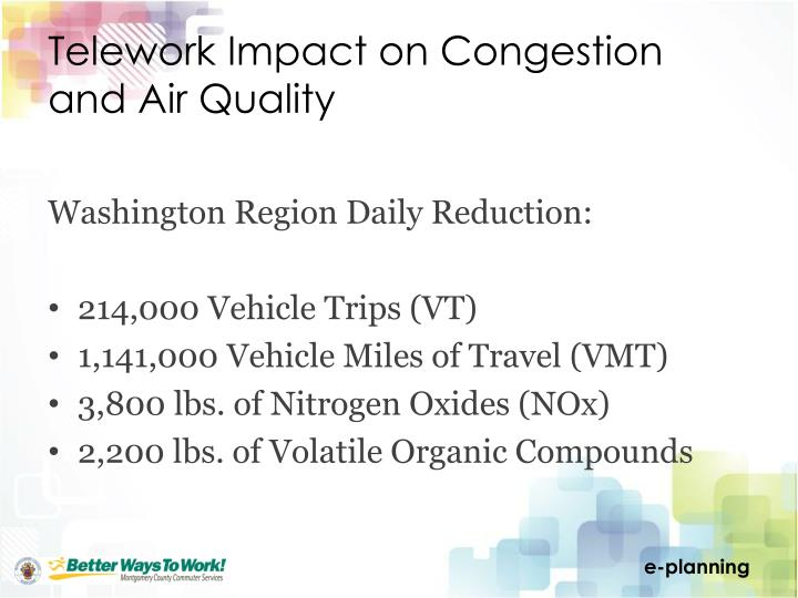 Telework Impact on Congestion and Air Quality