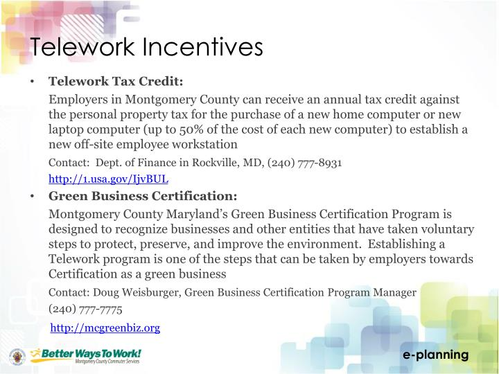 Telework Incentives