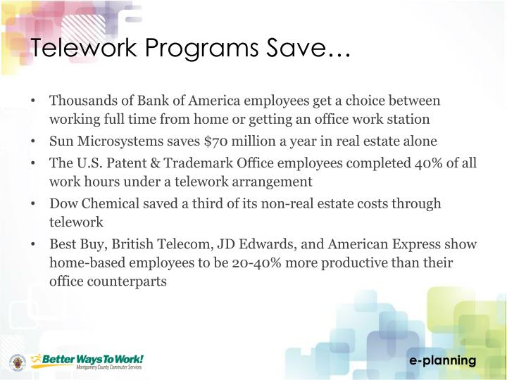 Telework Programs Save…