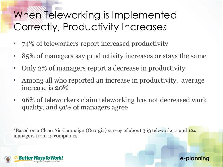 When Teleworking is Implemented Correctly, Productivity Increases