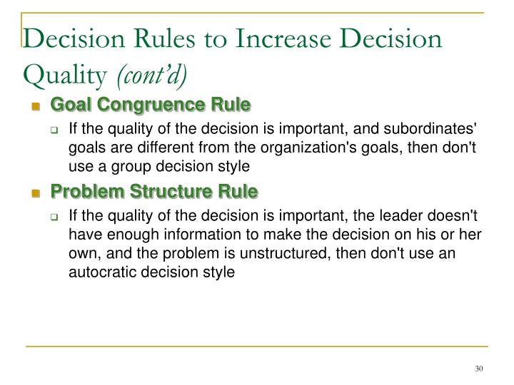 Decision Rules to Increase Decision Quality