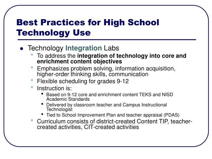 Best Practices for High School Technology Use