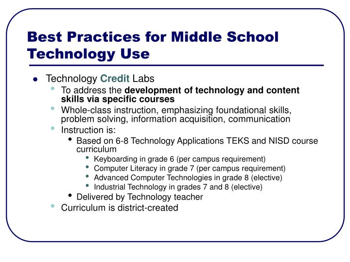Best Practices for Middle School Technology Use