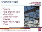 organizing images
