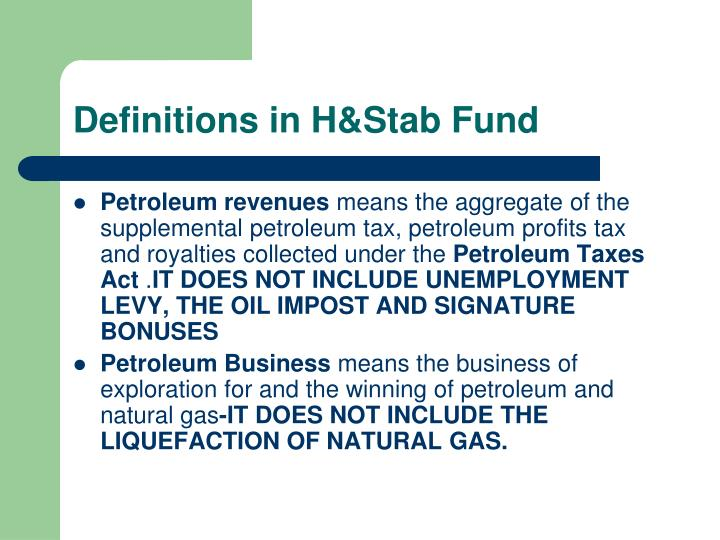 Definitions in H&Stab Fund
