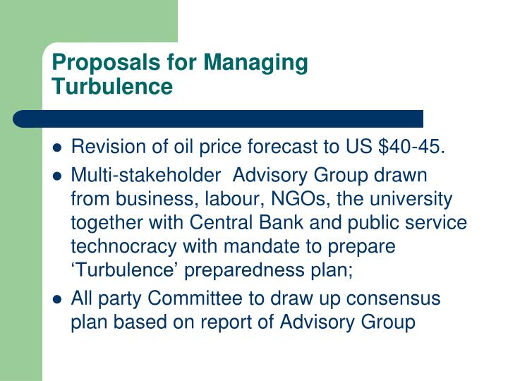Proposals for Managing