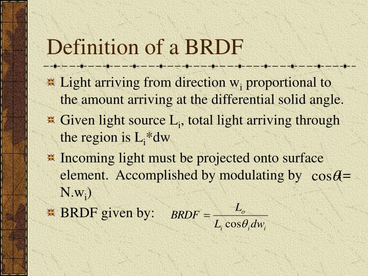 Definition of a BRDF