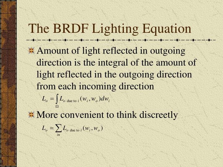 The BRDF Lighting Equation