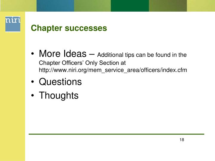 Chapter successes