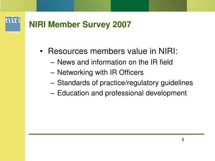 NIRI Member Survey 2007