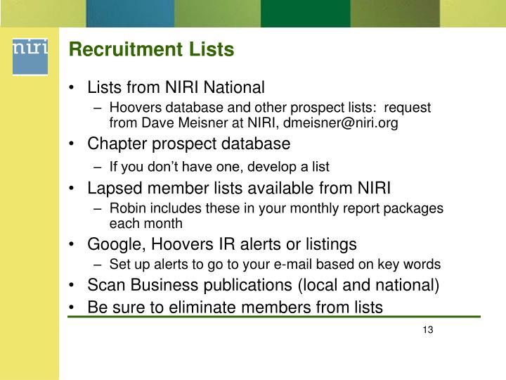 Recruitment Lists