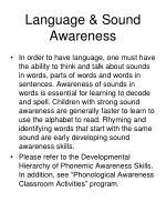 language sound awareness
