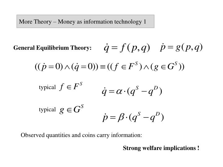 More Theory – Money as information technology 1