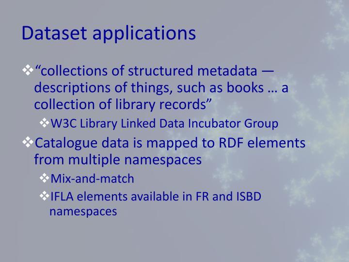 Dataset applications