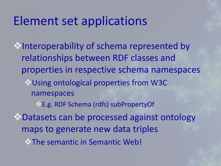 Element set applications