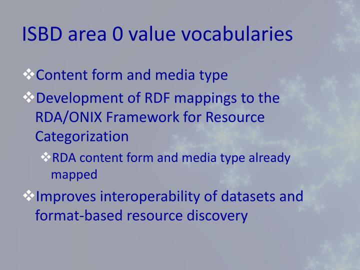 ISBD area 0 value vocabularies