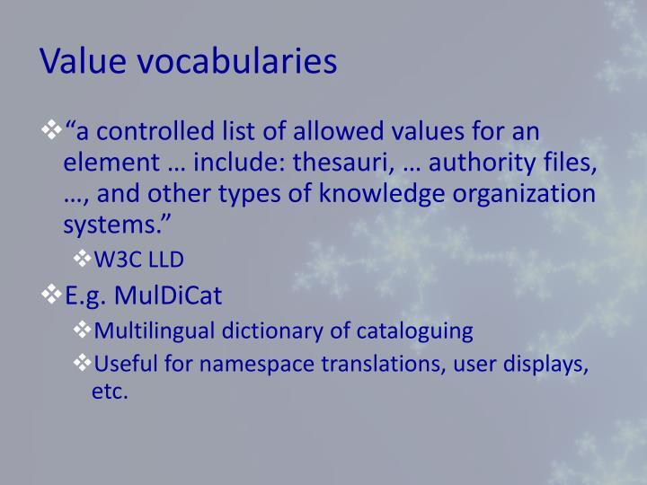 Value vocabularies