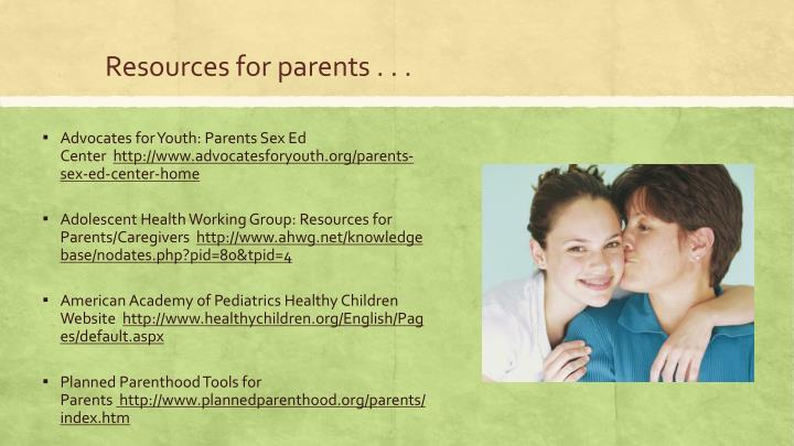 Resources for parents . . .
