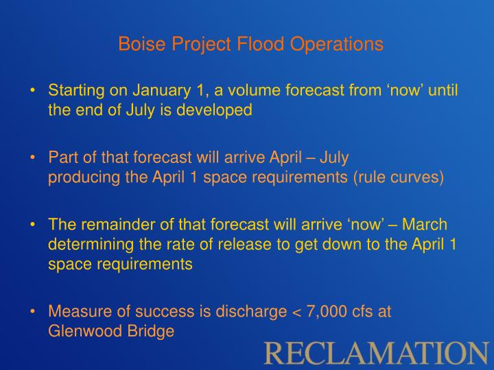Boise Project Flood Operations