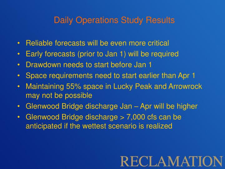 Daily Operations Study Results