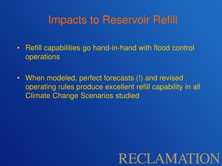 Impacts to Reservoir Refill