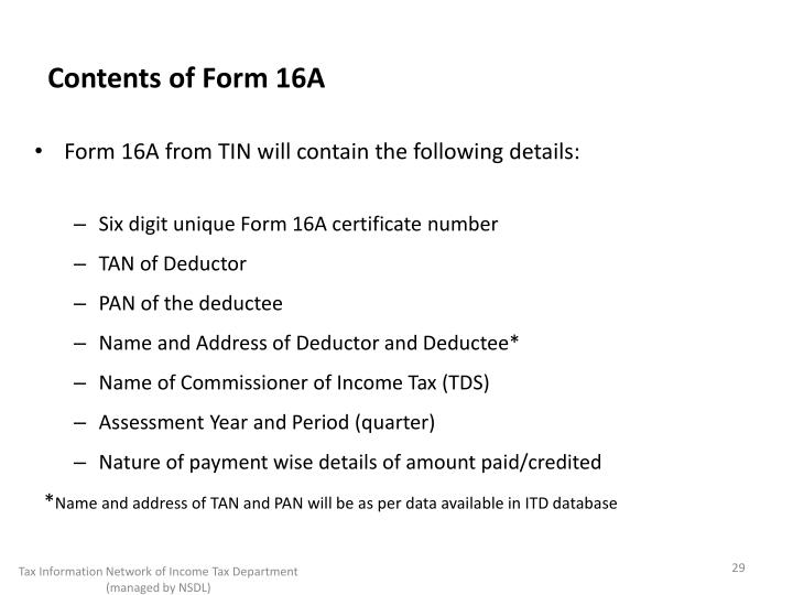 Contents of Form 16A