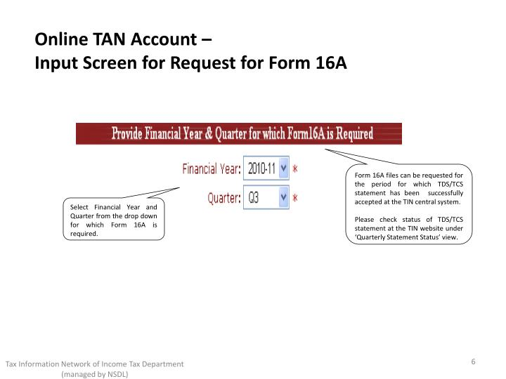 Online TAN Account –