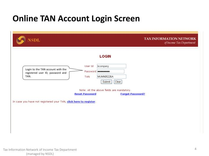 Online TAN Account Login Screen