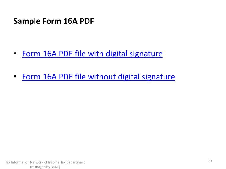 Sample Form 16A PDF
