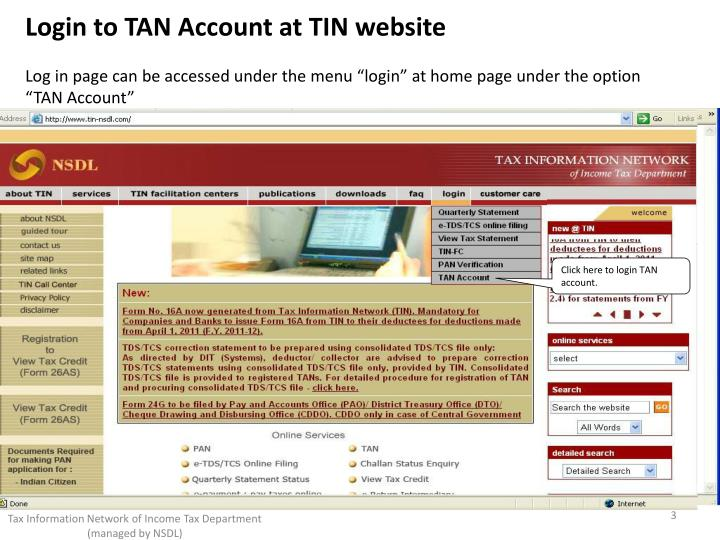 Login to TAN Account at TIN website