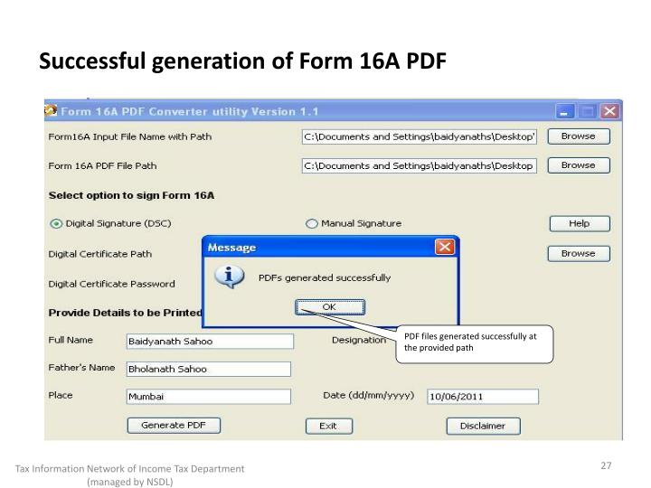 Successful generation of Form 16A PDF