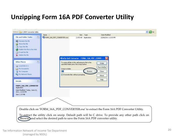 Unzipping Form 16A PDF Converter Utility