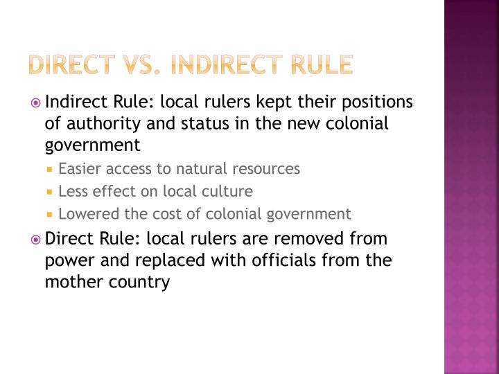 Direct vs. Indirect Rule