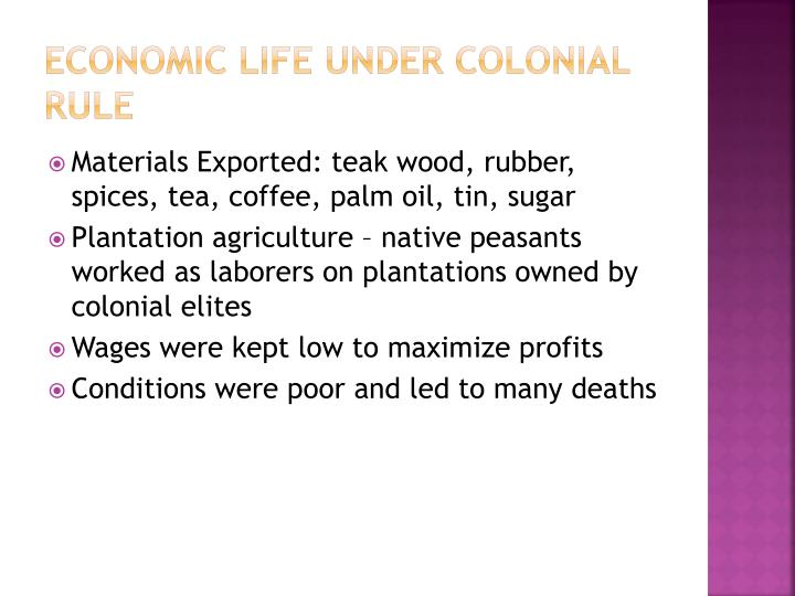 Economic Life Under Colonial Rule