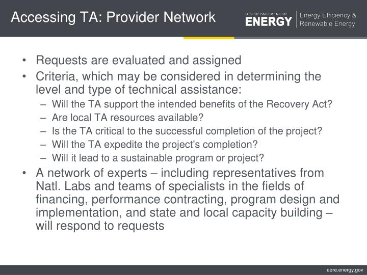 Accessing TA: Provider Network