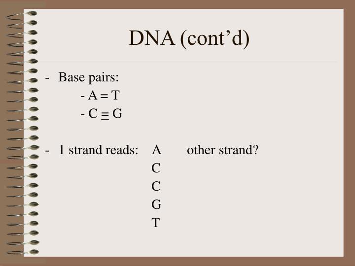DNA (cont'd)