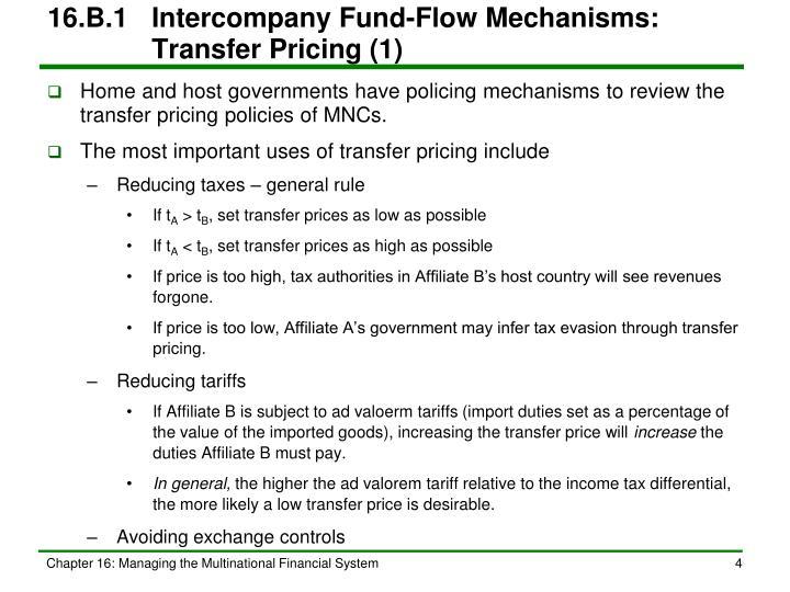 16.B.1Intercompany Fund-Flow Mechanisms: Transfer Pricing (1)