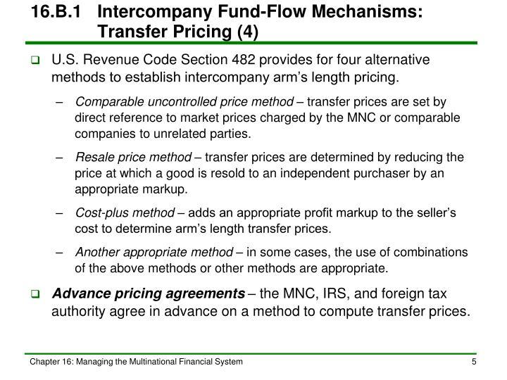 16.B.1Intercompany Fund-Flow Mechanisms: Transfer Pricing (4)