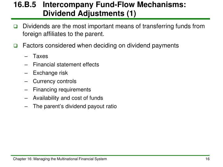 16.B.5Intercompany Fund-Flow Mechanisms:   Dividend Adjustments (1)