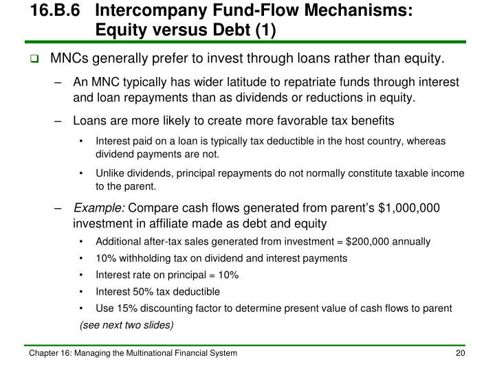 16.B.6Intercompany Fund-Flow Mechanisms:   Equity versus Debt (1)