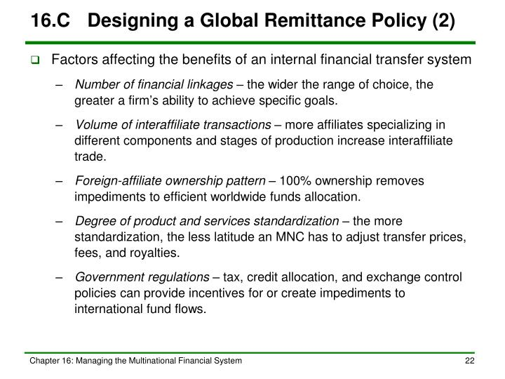 16.C	Designing a Global Remittance Policy (2)