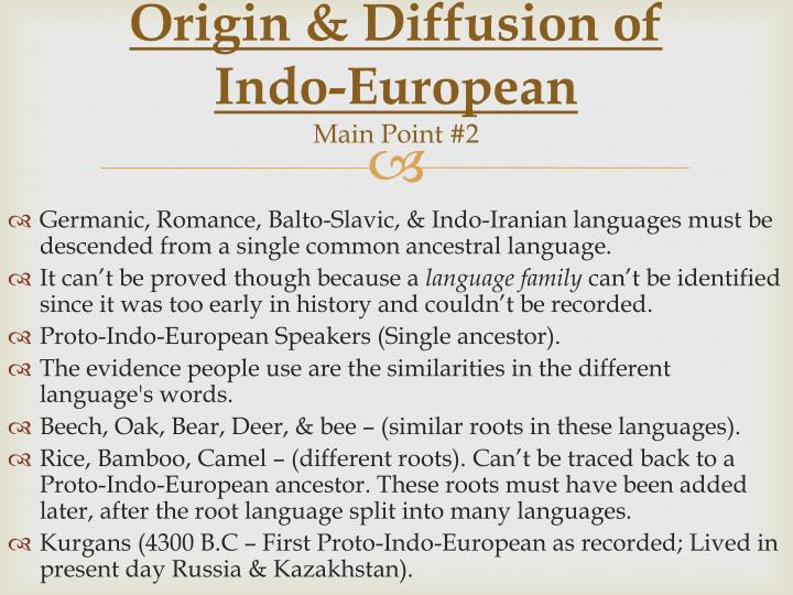 Origin & Diffusion of Indo-European