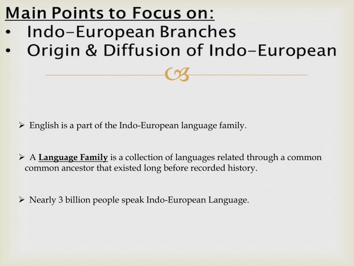 English is a part of the Indo-European language family.