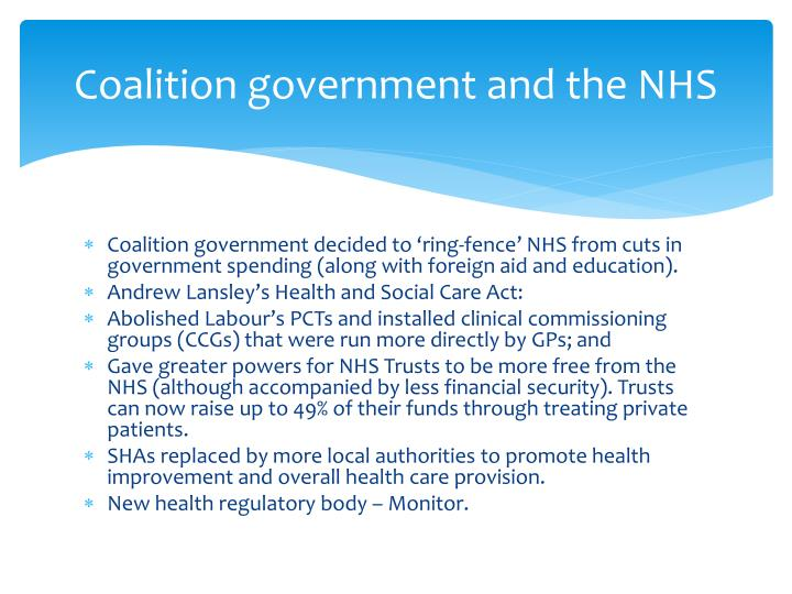 Coalition government and the NHS