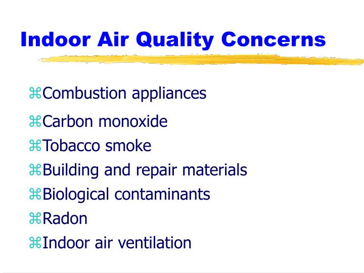 Indoor air quality concerns