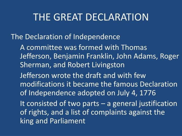 THE GREAT DECLARATION