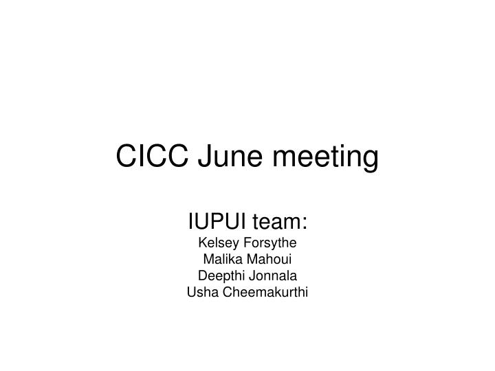Cicc june meeting